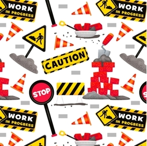 Picture of Work in Progress Construction Signs Caution Stop White Cotton Fabric