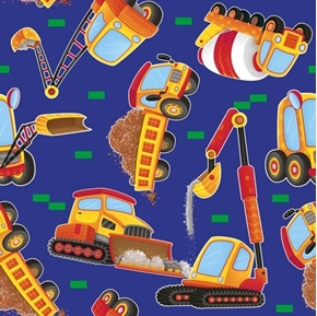 Work in Progress Dump Truck Toss Construction Truck Blue Cotton Fabric