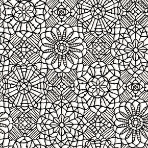 Picture of Amazing Lace Decorative Flower Lace Print Black on White Cotton Fabric