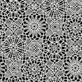 Amazing Lace Decorative Flower Lace Print White on Black Cotton Fabric
