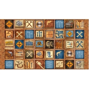 Picture of Craftsman Tools and Construction Signs 24x44 Brown Cotton Fabric Panel