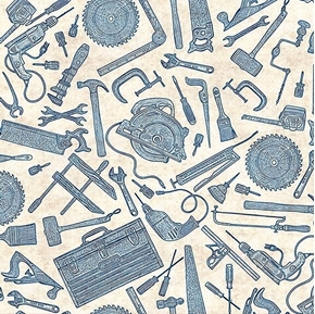 Craftsman Tools Toile Hammer Saw Wrench Blue on Cream Cotton Fabric