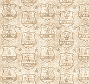 Picture of Protect and Serve Police Shields Tonal Support Our Police Ecru Cotton Fabric