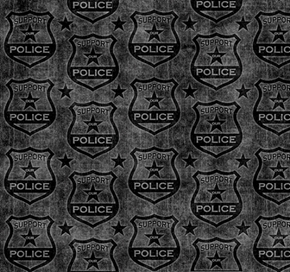 Picture of Protect and Serve Police Shield Tonal Support Our Police Black Cotton Fabric