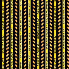 Protect and Serve Police Stripe Law Order Yellow Black Cotton Fabric