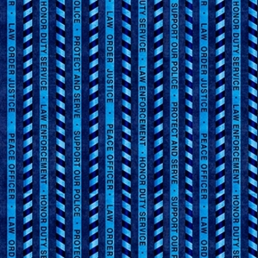 Picture of Protect and Serve Police Stripe Law Order Navy Cotton Fabric