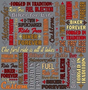 Picture of Biker For Life Biker Lingo Motorcycle Ride Free Grey Cotton Fabric