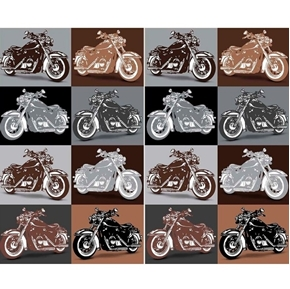 Picture of Biker For Life Motorcycle Patches in Brown and Gray Cotton Fabric
