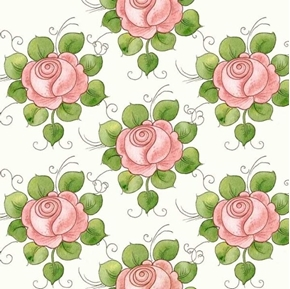 Picture of Hatters Tea Party Rose Allover Pink Roses on Ecru Cotton Fabric