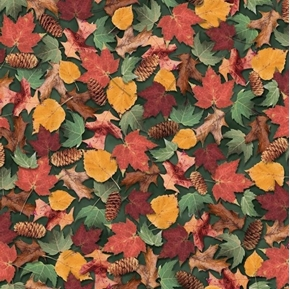 North Woods Leaves and Pinecones Autumn Colors Green Cotton Fabric