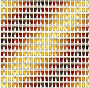 Picture of In Doubt, Drink Stout Beer Glass Stripe White Cotton Fabric