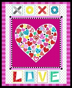 Big Love Heart XOXO Valentine Hearts Large Cotton Fabric Panel