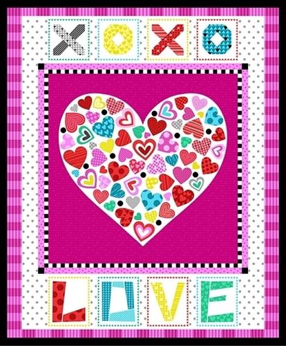 Big Love Heart XOXO Valentine Hearts Large Cotton Fabric Panel
