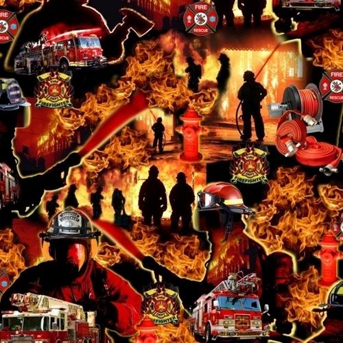 Under Fire Firefighters Fight Fire Equipment Firetrucks Cotton Fabric