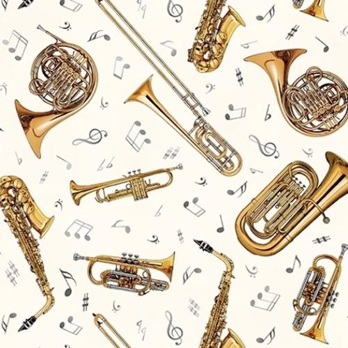 Jazz Brass Instruments Music Notes Sax Trumpet Cream Cotton Fabric