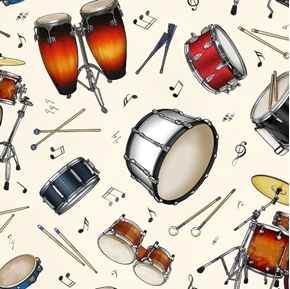 Jazz Percussion Instruments Music Notes Drums Cream Cotton Fabric