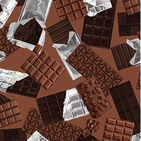 Oh Fudge Chocolate Bars Unwrapped Candy Brown Cotton Fabric