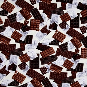 Oh Fudge Chocolate Bars Unwrapped Candy Ivory Cotton Fabric