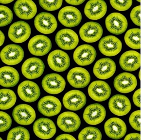 Picture of Fresh Squeezed Kiwi Fruit Green Kiwi Slices Black Cotton Fabric