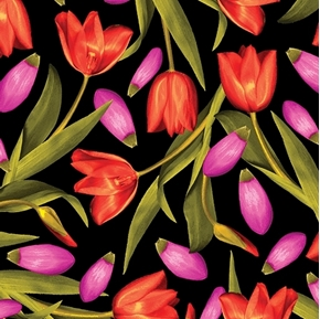 Picture of Bloom With A View Pink and Red Tulips Tulip Flowers Cotton Fabric