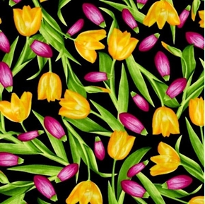 Bloom With A View Pink and Yellow Tulips Tulip Flowers Cotton Fabric