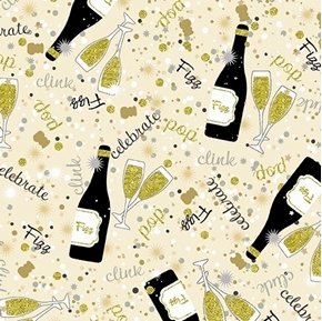 Picture of Celebration Champagne Metallic Gold Happy New Year Ivory Cotton Fabric