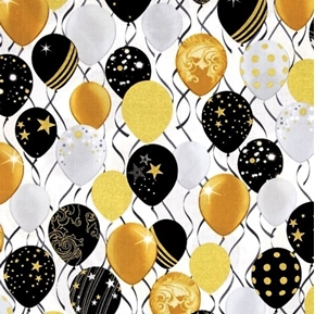 Picture of Celebration Balloons Metallic Gold Silver Black Balloon Cotton Fabric