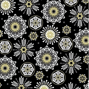 Picture of Celebration Snowflake Metallic Gold Silver Snow on Black Cotton Fabric