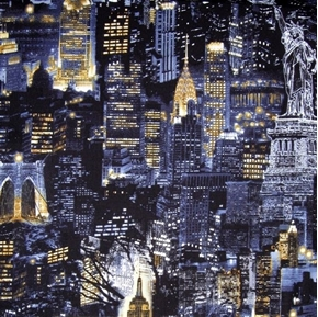Picture of Cityscapes NYC New York at Night Buildings Icons Blue Cotton Fabric
