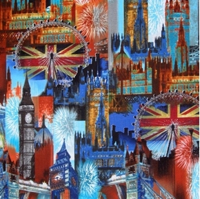 Cityscapes City of London Icons Fireworks Travel Cotton Fabric