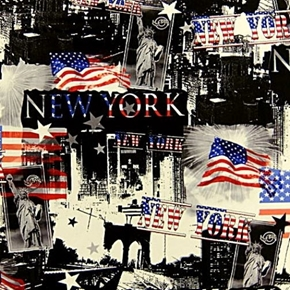 All American NYC New York Independence Day Patriotic Cotton Fabric
