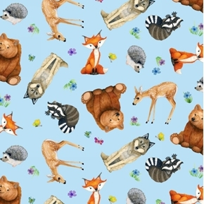 Magic Forest Cute Animals Raccoon Hedgehog Wolf Blue Cotton Fabric