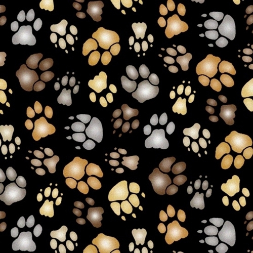 Big Cats Animal Paws Paw Prints Claws on Black Cotton Fabric