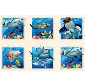 Ocean Selfies Cute Animal Fish Dolphin Shark 24x44 Cotton Fabric Panel