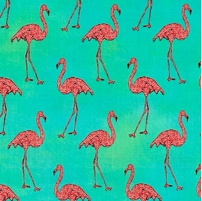 Picture of Beach Divas Pink Flamingo Birds Flamingoes Green Cotton Fabric