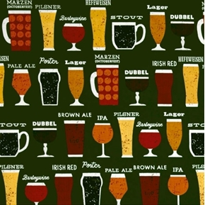 Cheers Beer Glass Brew Styles Porter Lager Hefeweizen Cotton Fabric