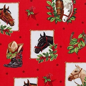 Picture of Holly Jolly Christmas Holiday Horse Frames Red Cotton Fabric