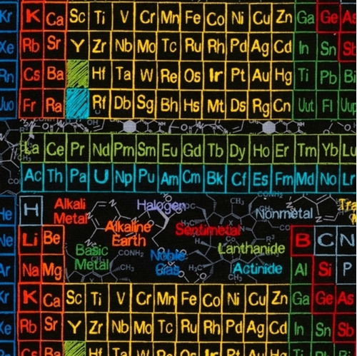 Picture of Periodic Table of Scientific Elements Science Black Cotton Fabric