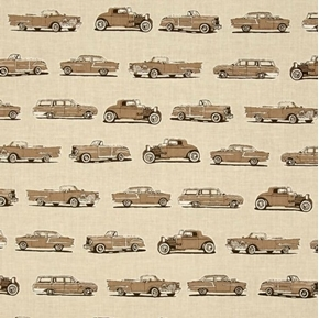 Picture of Old Guys Rule Classic Car Vintage Jalopy Brown Cars Cotton Fabric
