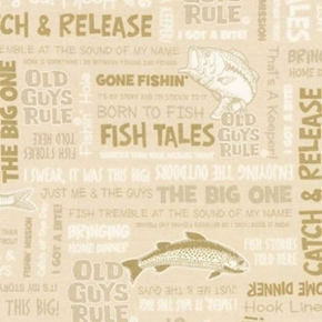 Picture of Old Guys Rule Fishing Terms Catch and Release Fish Tales Cotton Fabric