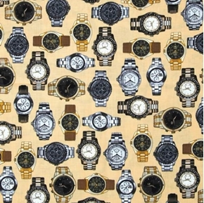 Picture of Law Library Men's Watches Out of Time Watch Beige Cotton Fabric