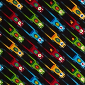 Picture of Vroom Vroom Race Cars Racing Toy Car Black Cotton Fabric