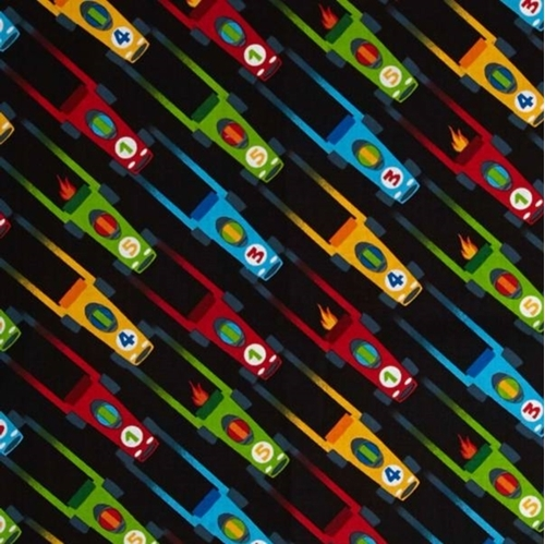 Vroom Vroom Race Cars Racing Toy Car Black Cotton Fabric