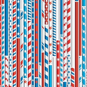 Drawing Straws All American Patriotic Stripes White Cotton Fabric