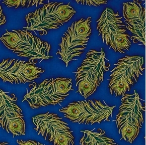 Palais Jardin Gold Metallic Peacock Feathers on Blue Cotton Fabric