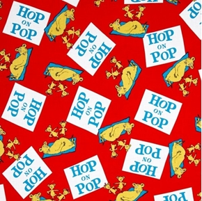 Picture of Hop on Pop Dr Seuss Storybook Character Book Title Red Cotton Fabric