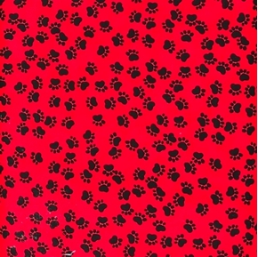 Picture of Dog Paw Prints Animal Paws Black on Red Cotton Fabric