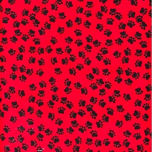 Dog Paw Prints Animal Paws Black on Red Cotton Fabric