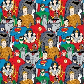 Picture of DC Comics Justice League Multi Characters Superhero Cotton Fabric