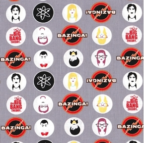 The Big Bang Theory Characters in Multi Bazinga Gray Cotton Fabric